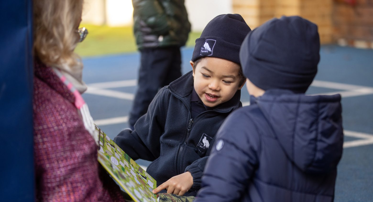 Students reading at Falcons Nursery Chiswick